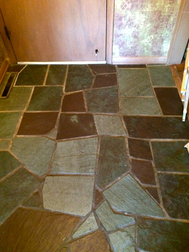 Slate floor in the foyer